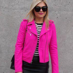 Gap Neon Pink Wool Moto Jacket
